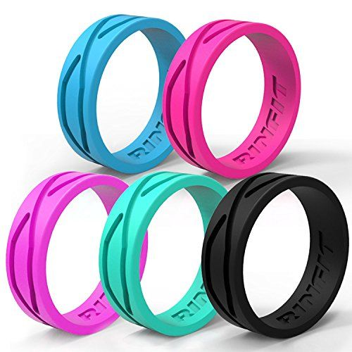 Rinfit Women S Silicone Ring Wedding Band 5 Rings Pack Designed Silicone Rings Bla Silicone Wedding Ring Women Silicone Wedding Band Wedding Ring Bands