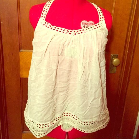 Airy Summer Blouse Blouse with crossed lace straps and pretty lace trim. American Eagle Outfitters Tops Blouses