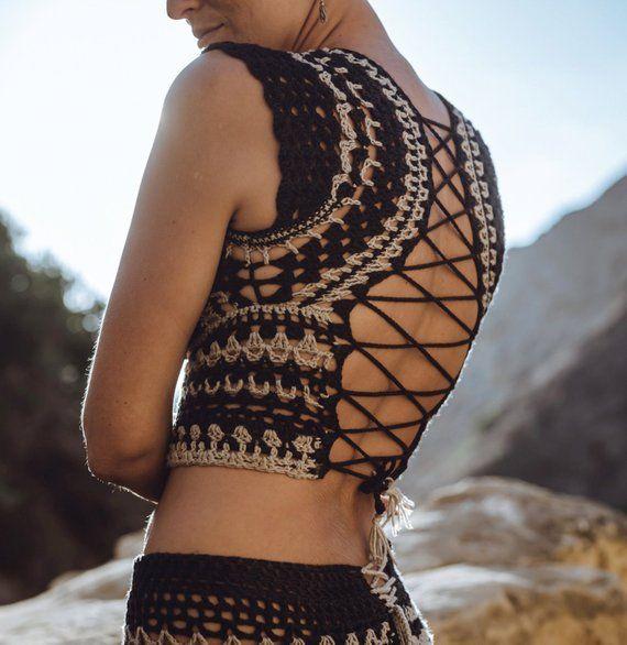 Mystic Warrior Top. Southwest Fashion. Open Back. Bohemian. Rock n Roll. Vintage Rustic. Desert Fashion. Handmade in USA. Black Tan Pattern