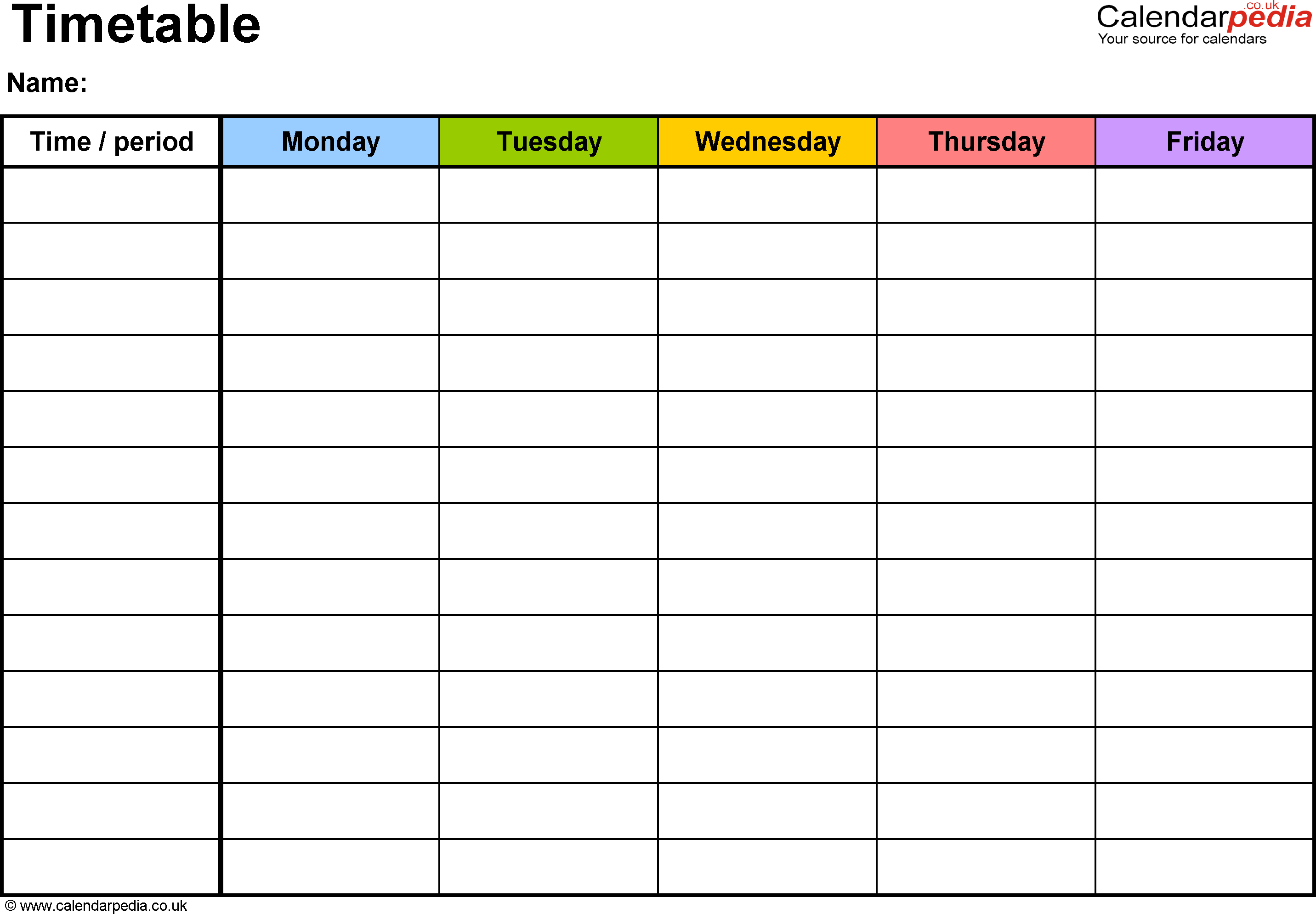 Timetable Template 2 Landscape Format A4 1 Page