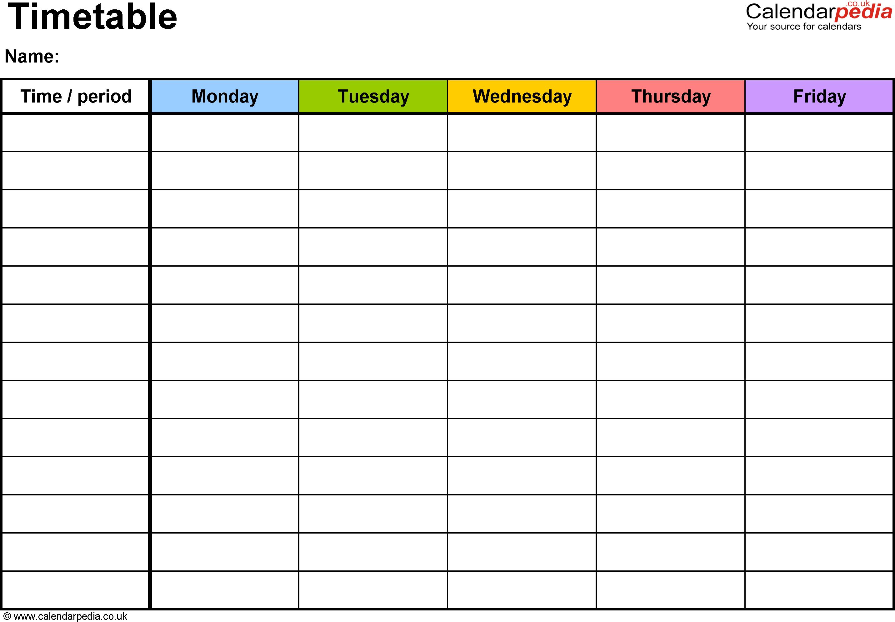 Timetable Template 2 Landscape Format A4 1 Page