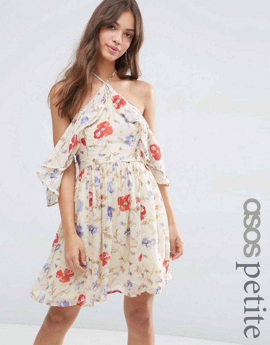 Minivestido con hombros descubiertos, mangas con volante y estampado floral  vintage de ASOS PETITE at asos.com