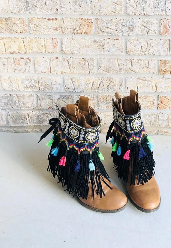 Black Fringe Boot Cuffs Bohemian Boot Covers Gypsy Boot Wrap Ankle Cuff Boot Bracelet Boot Accessori #bootcuffs