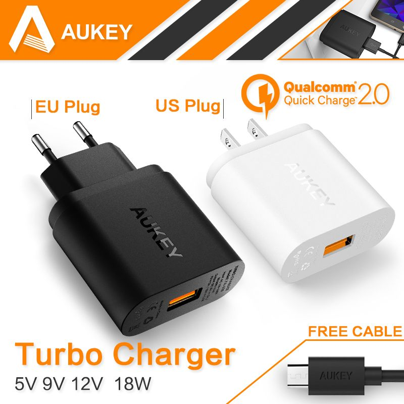 iphone quick charge. 100% original aukey quick charge 2.0 18w usb wall charger smart fast charging for iphone iphone s