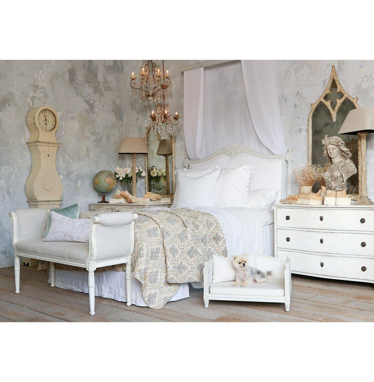 Louis XVI French Country White Cotton