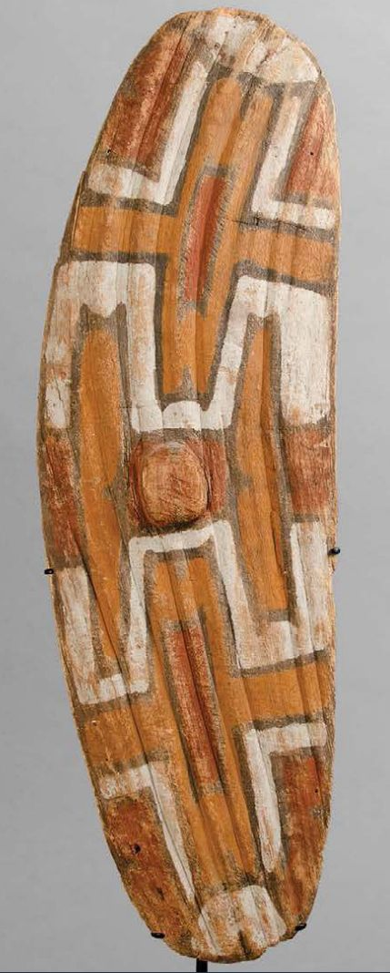 This shield was collected by John Atherton (1837-1913), after whom the Atherton Tablelands in North Queensland are named. The shield, c. 1905, was made by the Rainforest peoples for young initiates. The designs come from natural animal and plant forms. This shield is similar to one in the Australian Museum in Sydney, which comes from people living near the Tinaroo Lake, a man-made reservoir on the Atherton Tableland in Far North Queensland, Australia