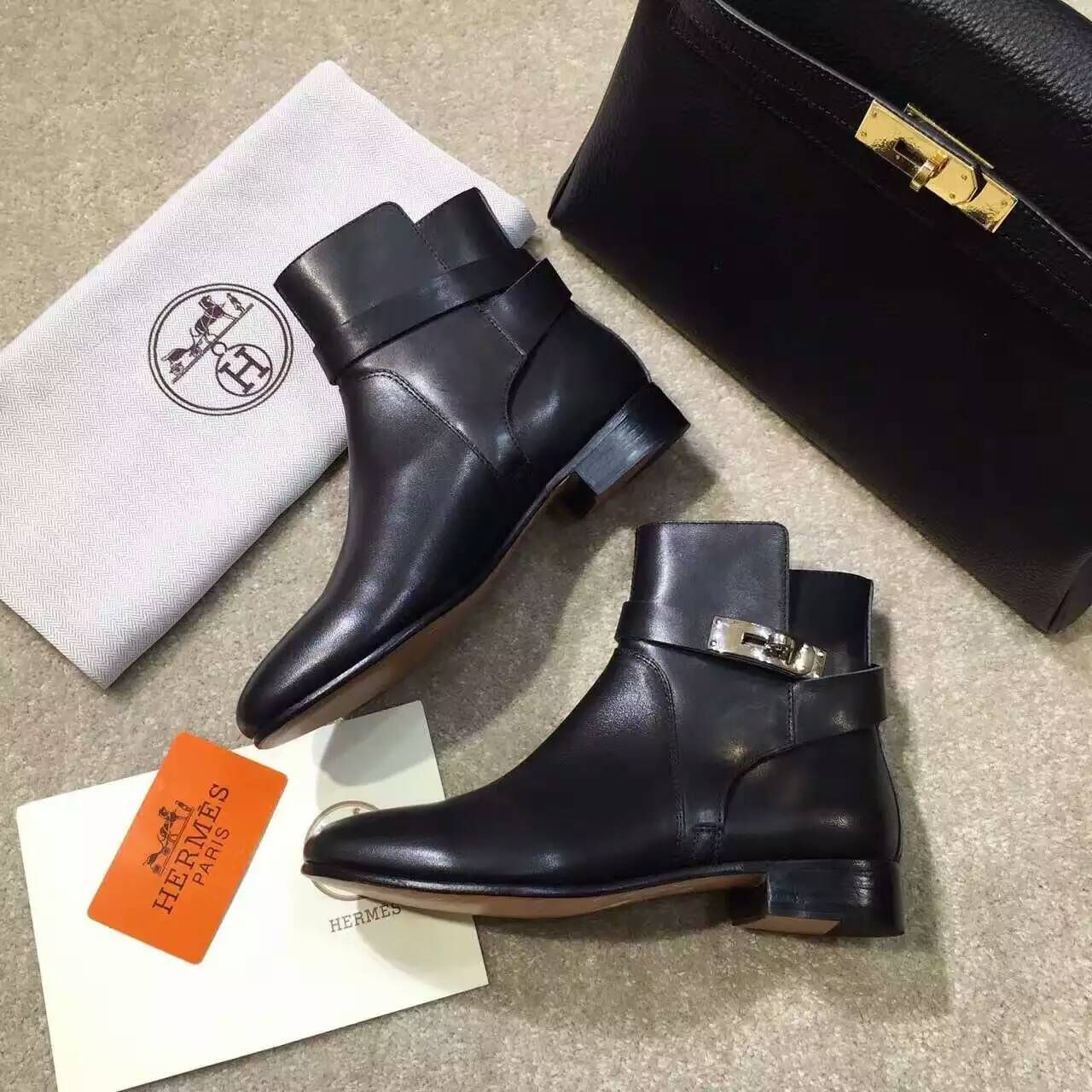 98c7953cc028 Latest Hermes Kelly ankle boots black