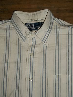 Polo by Ralph Lauren Men's M Long Sleeve Button Front Shirt Pocket 100% Cotton