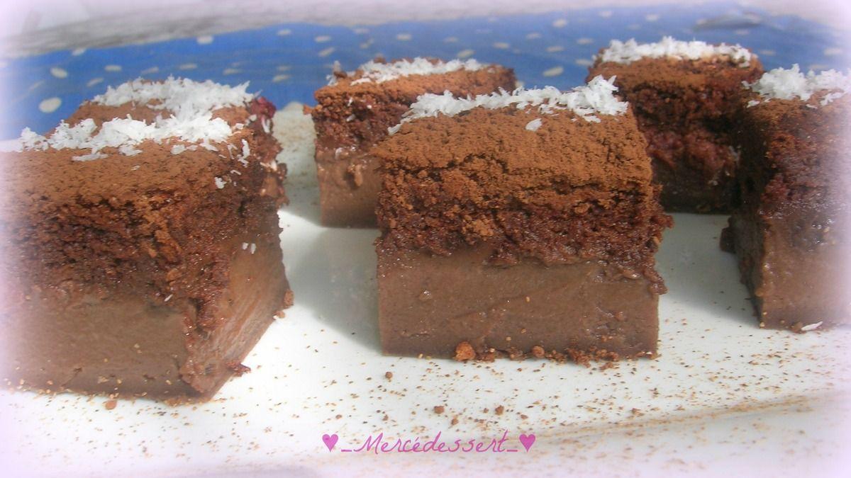 La grande tendance du moment est le gâteau magique. Magique, car il a deux textures, une partie biscuitée et une partie fondante. J'ai choisi de le faire au chocolat et d'y ajouter des morceaux de framboises et ma recette vient du blog de ma copinaute...