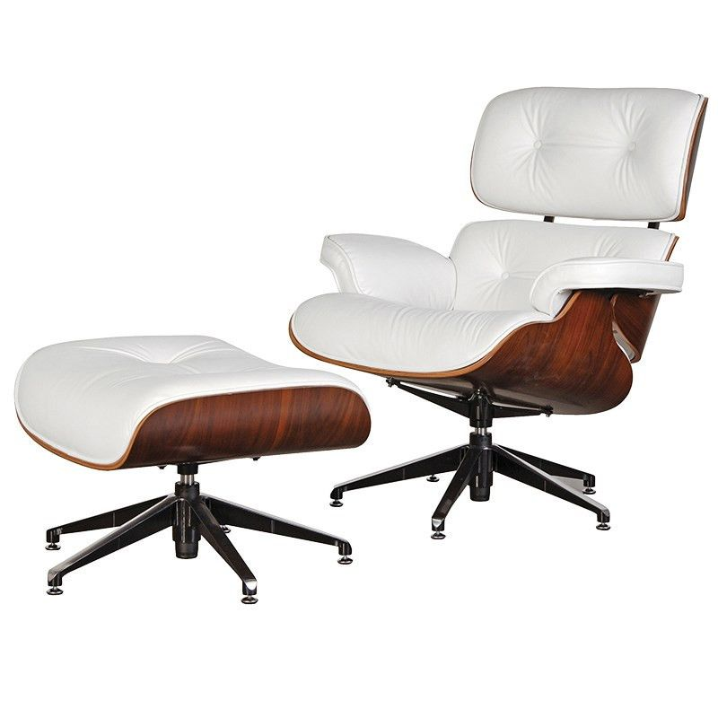 White Leather Eames Lounge Chair and Ottoman Eames style
