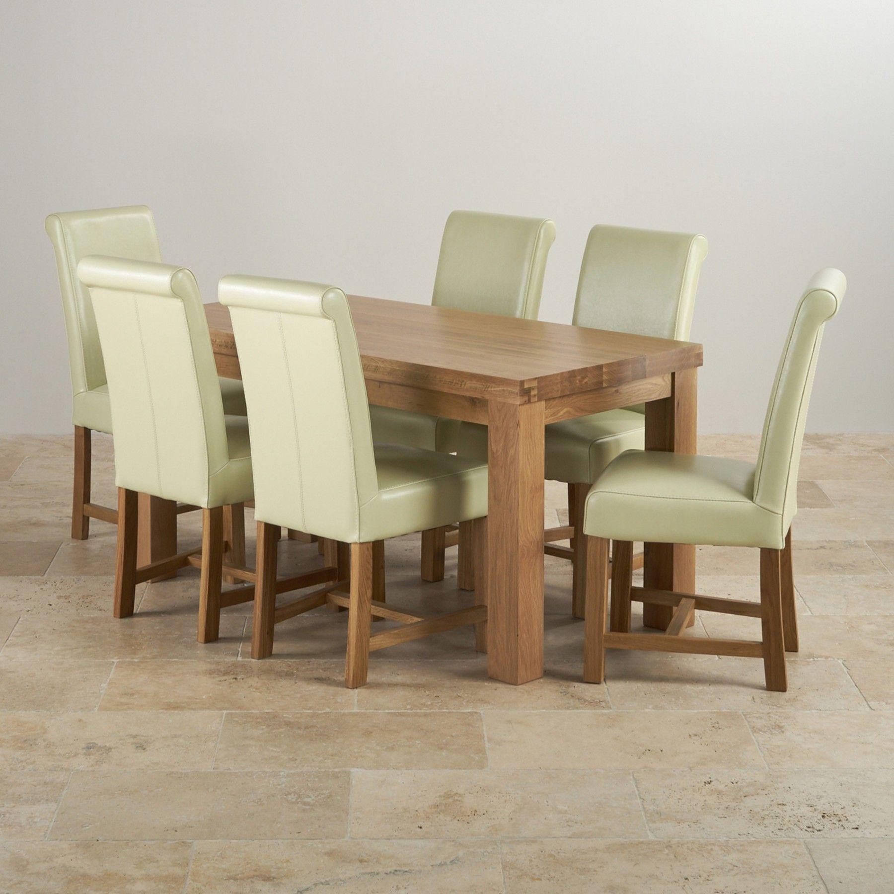 Contemporary Chunky Natural Solid Oak Dining Set 5ft Table With