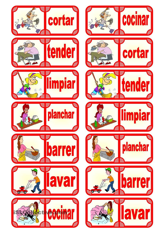 Fichas De Domino Las Tareas Del Hogar Teaching Spanish Learning Spanish Action Verbs