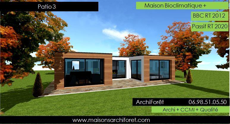 patios maison avec patio par architecte constructeur ossature bois du plan de permis de construire a - Plan Agrandissement Maison Plain Pied