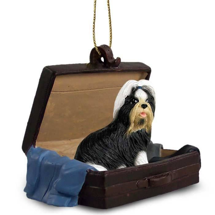 Hand Painted Black & White Shih Tzu Figurine Traveling Companion in a…