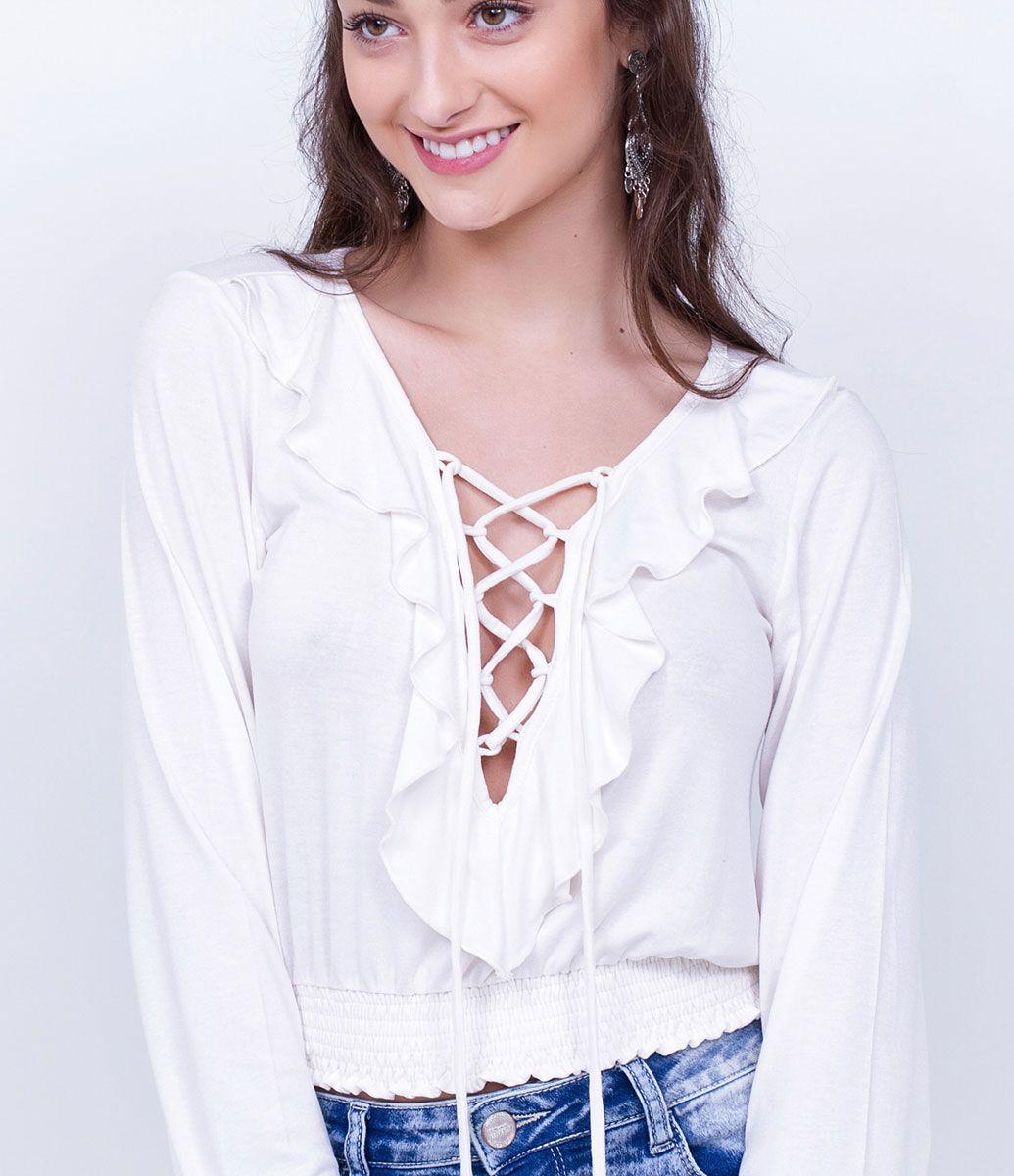Blusa Feminina Modelo Cropped Manga Longa Decote Ombro A Ombro