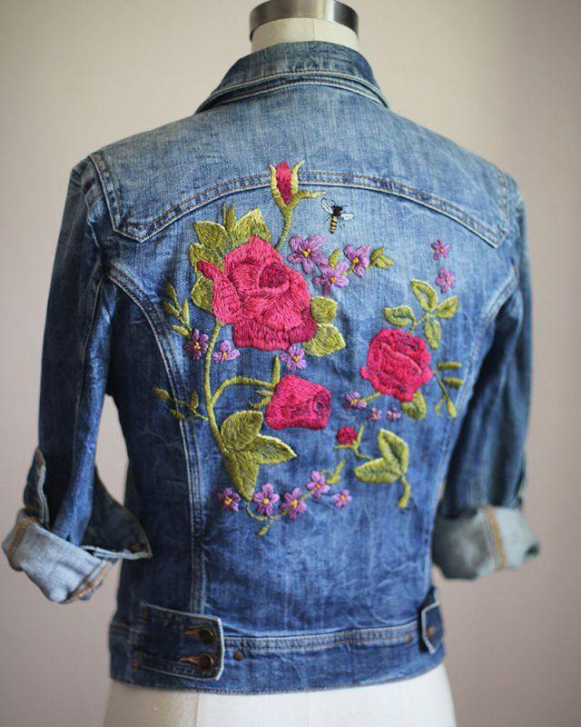 15 id es pour customiser une veste en jean broderie embroidery pinterest vestes en jean. Black Bedroom Furniture Sets. Home Design Ideas