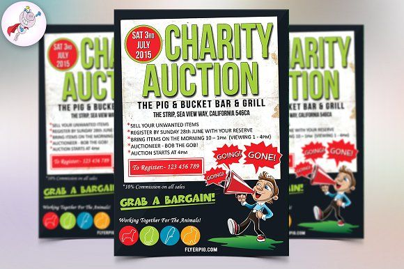 charity auction flyer template by flyerpig on creativemarket