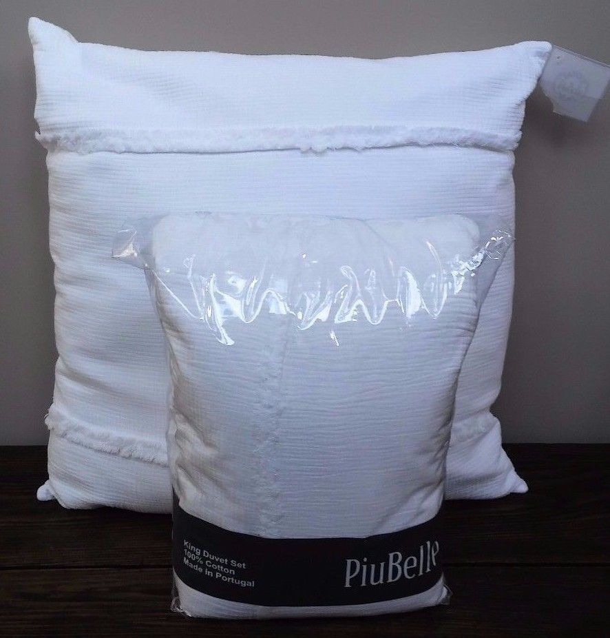 PiuBelle KING Duvet Shams Euro Pillow/Form Matelasse White
