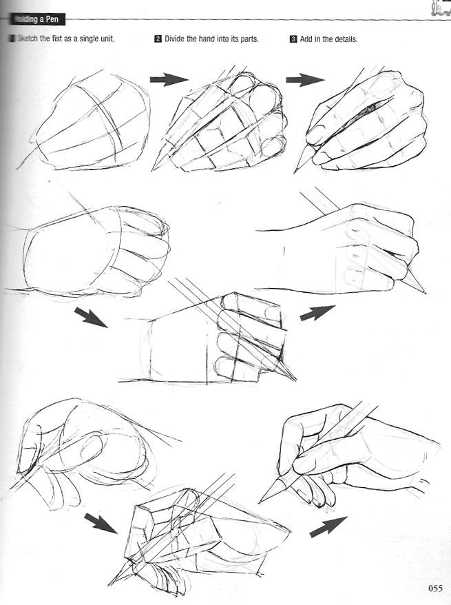 """Hand poses - Graphic Sha's """"How to Draw Manga: Drawing Yaoi"""" - Holding a pen - (4/6)"""