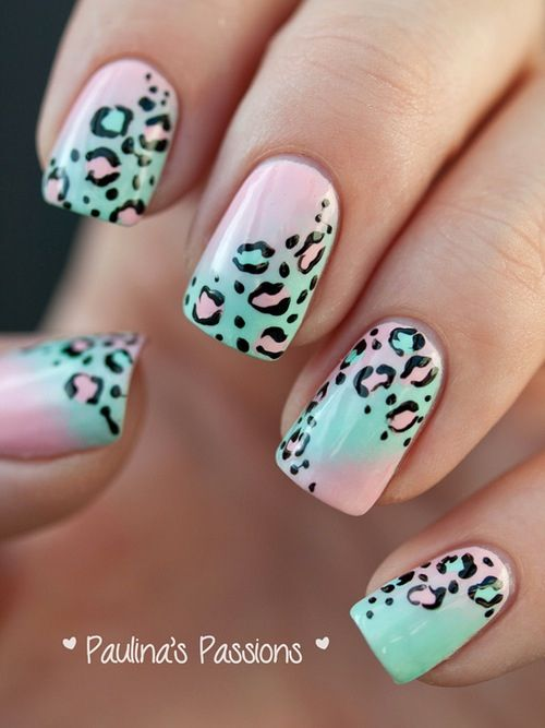 Leopard Print, Light Pink and Blue Nail Design - Leopard Print, Light Pink And Blue Nail Design Hair..makeup..nails