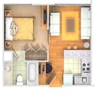 Mini Departamento De 32m2 Un Departamento Muy Pequeñito Pero Funcional Co Planos De Casas Planos De Departamentos Pequeños Planos De Apartamentos Pequeños