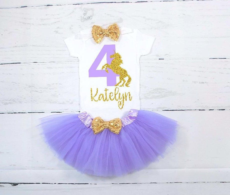 Unicorn Fourth Birthday Outfit 4th Shirt Lavender And Gold Purple By