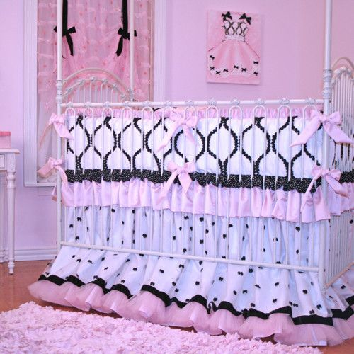 Chanel Crib Bedding | Black, White and Pink Baby Bedding - Chanel Crib Bedding Black, White And Pink Baby Bedding Crib
