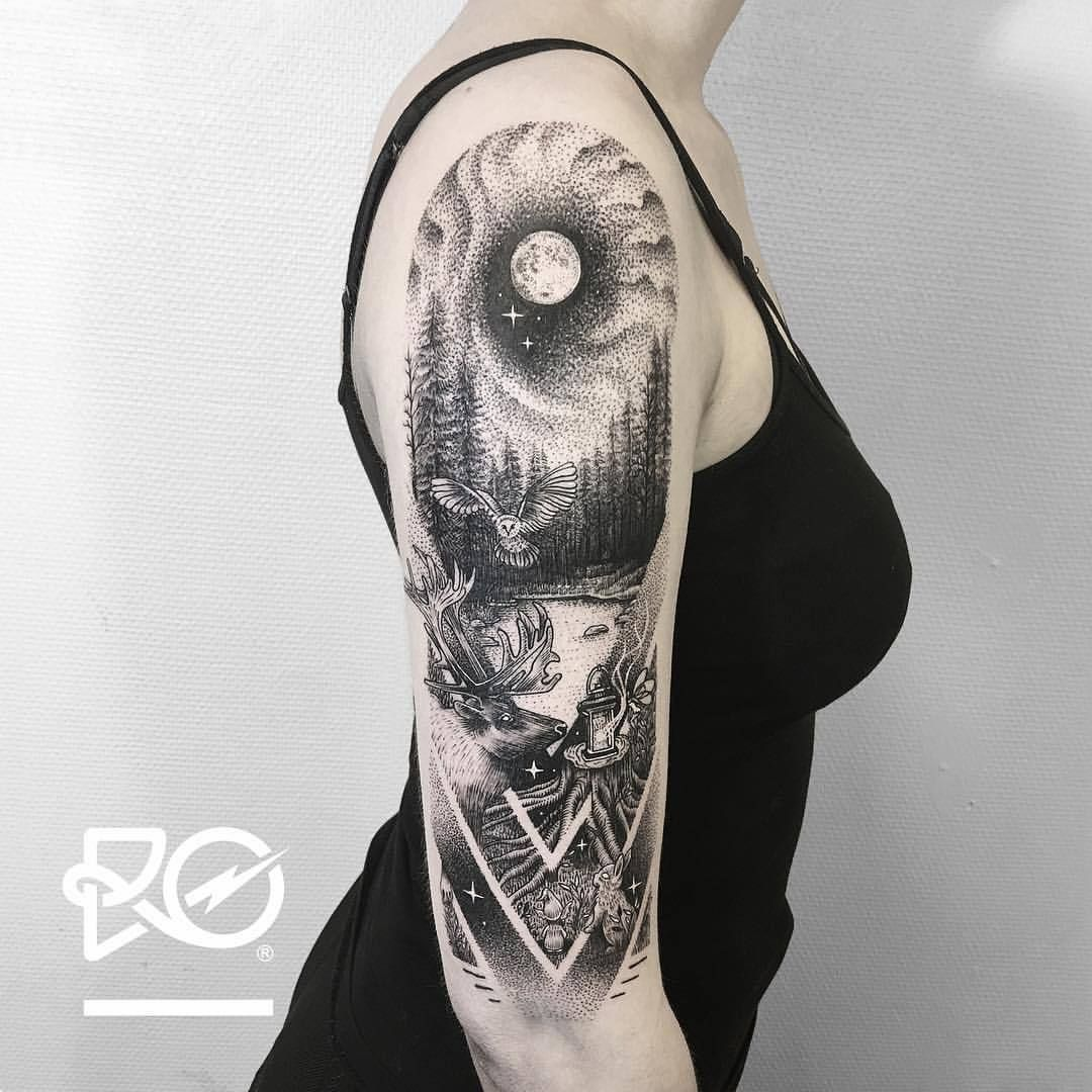 5e9056c247326 moon, forest, lake, owl, deer, arm tattoo, tattoo for all | Body art ...