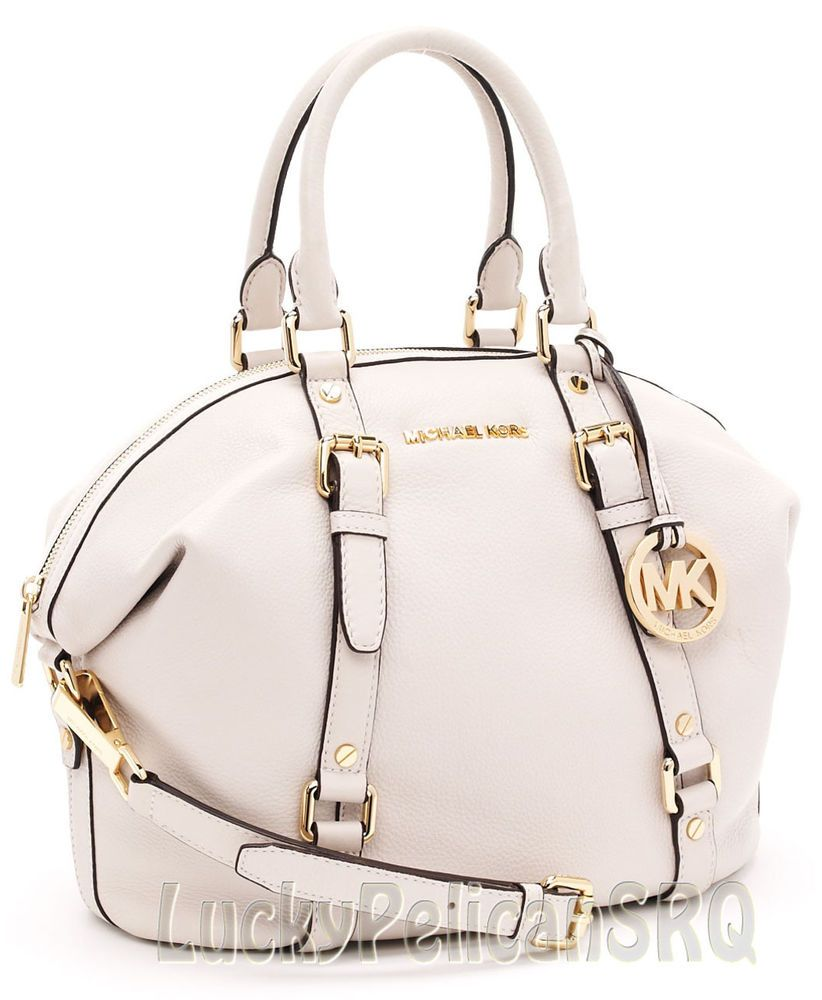 Michael Kors Bedford Medium Leather Satchel Handbag White Vanilla ...