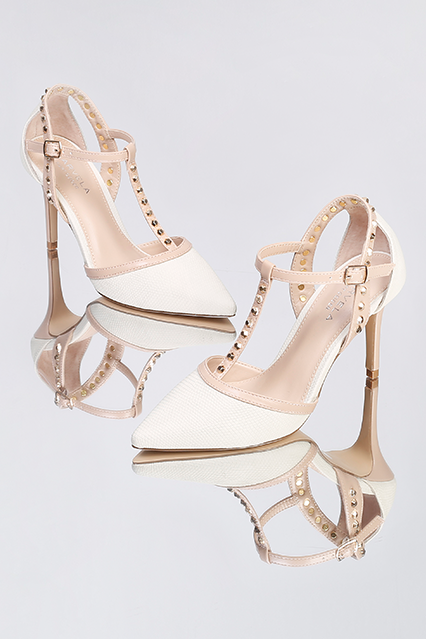 7d969536206a Turn heads in brand new Kankan from Carvela Kurt Geiger. A sleek court set  in cream and tan and rocked up through on-point gold-tone stud detailing