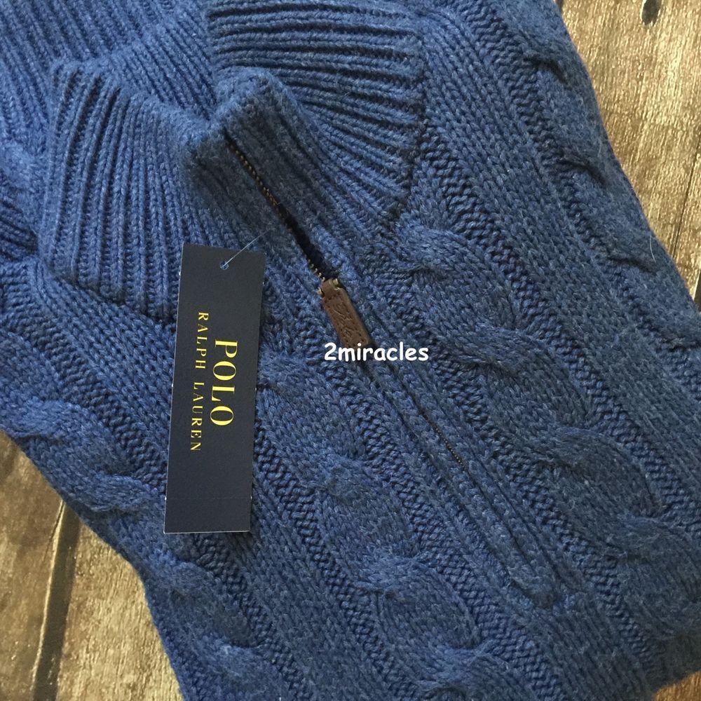 POLO RALPH LAUREN Men\u0027s Tussah Silk Half Zip Cabled Knit Sweater M $165