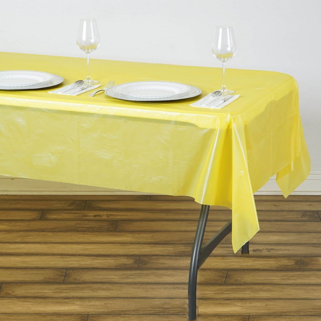 54 X 72 Yellow 10 Mil Thick Waterproof Tablecloth Pvc Rectangle Disposable Tablecloth In 2020 Plastic Table Covers Table Cloth Waterproof Tablecloth