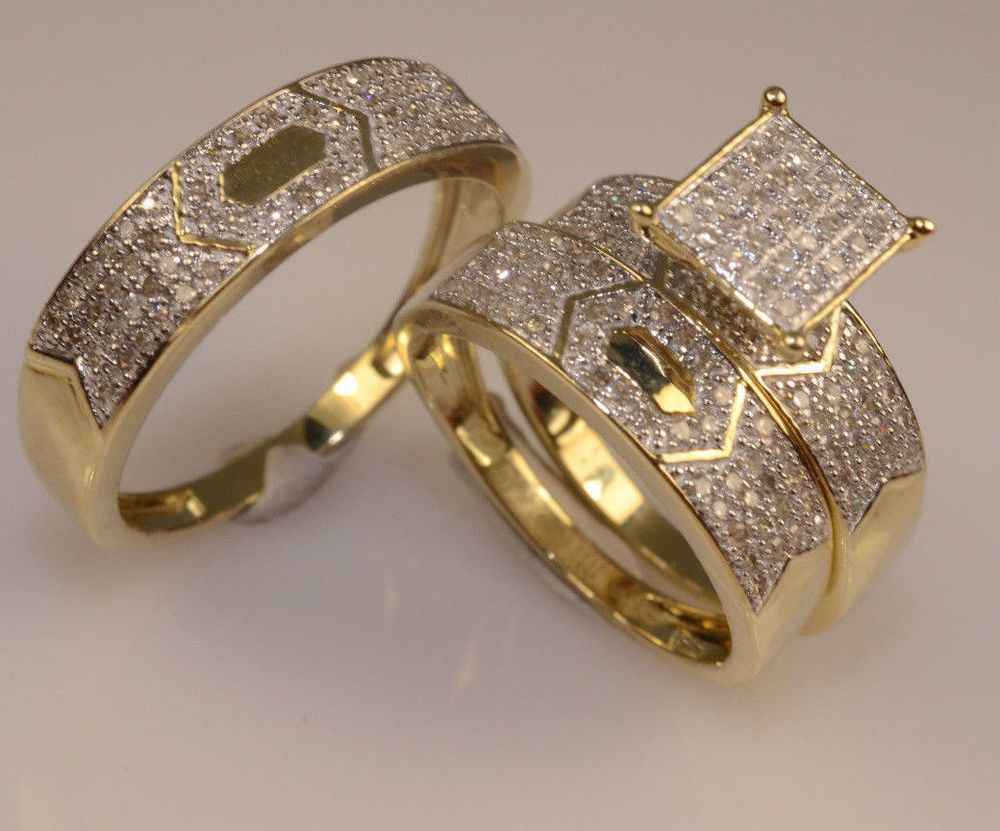 DIAMOND HIS ENGAGEMENT RING AND HER WEDDING BAND TRIO SET 14K YELLOW GOLD FINISH