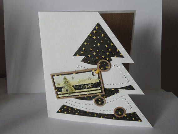 Carte de Noël , carte de voeux ,carte scrappée noire blanche et