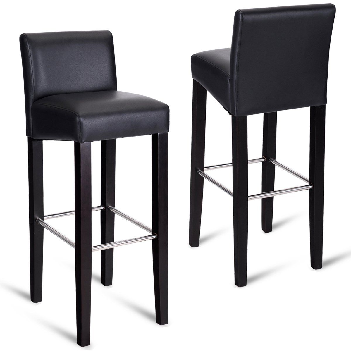 Set Of 2 Padded Seat Bar Stool Chair With Solid Wood Legs Black