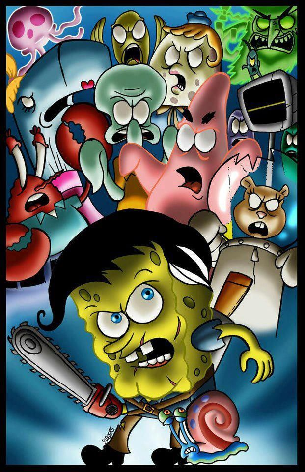 19b0a22f8 SPONGEBOB ASH FROM THE EVIL DEAD Bruce Campbell, Disney Characters, Fictional  Characters, Art