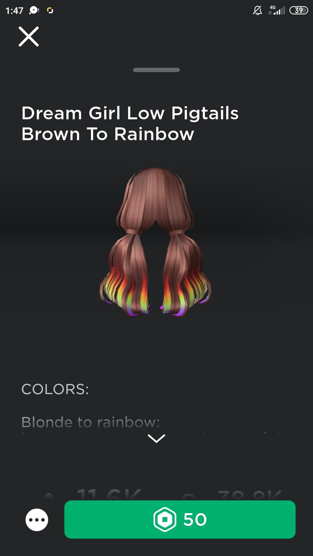 Roblox Girl Hair In 2020 Girl Pigtails Rainbow