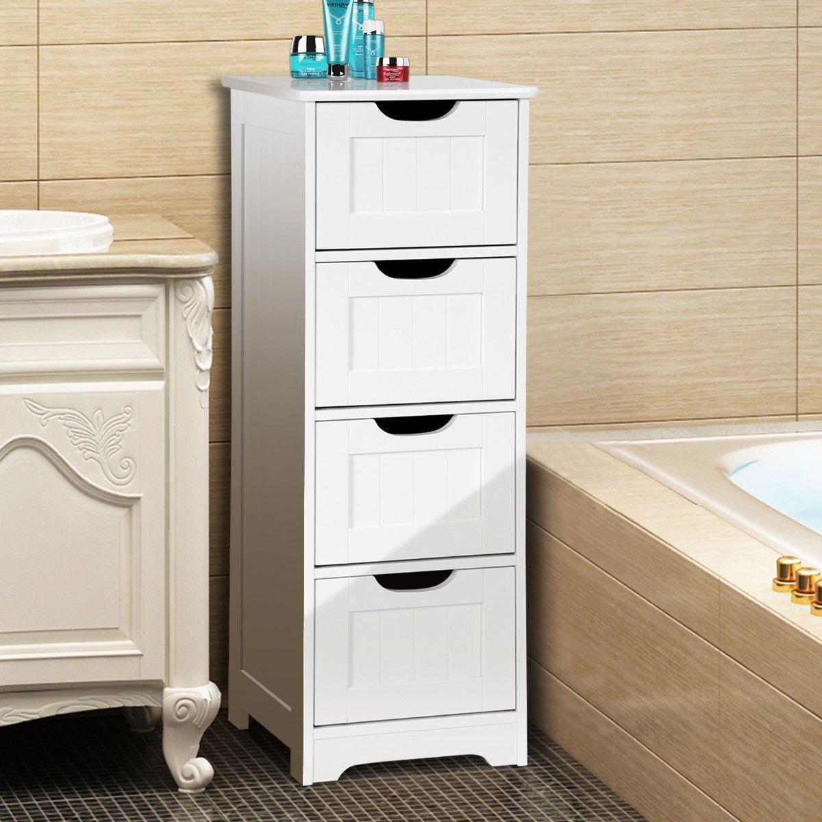 Gymax Bathroom Floor Cabinet Wooden Free Standing Storage Side Organizer W 4 Drawers Walmart Com Bathroom Floor Cabinets Bathroom Storage Cabinet Cupboard Storage [ jpg ]