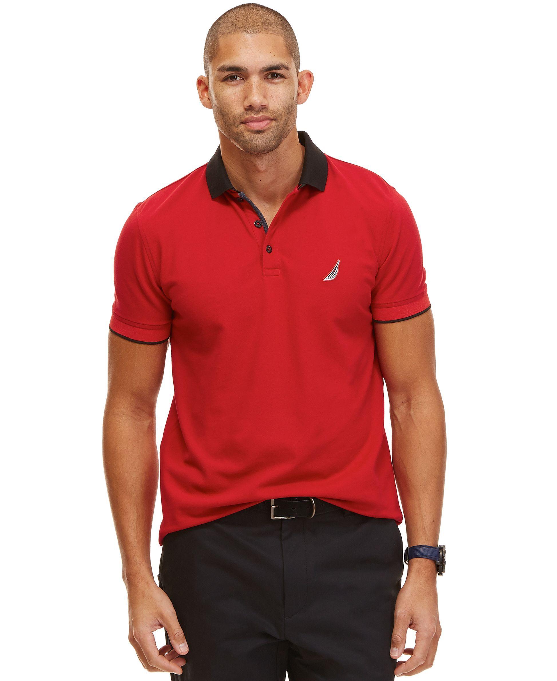 Nautica Mens Slim Fit Layered Collar Polo Shirt Mens Polo Polo