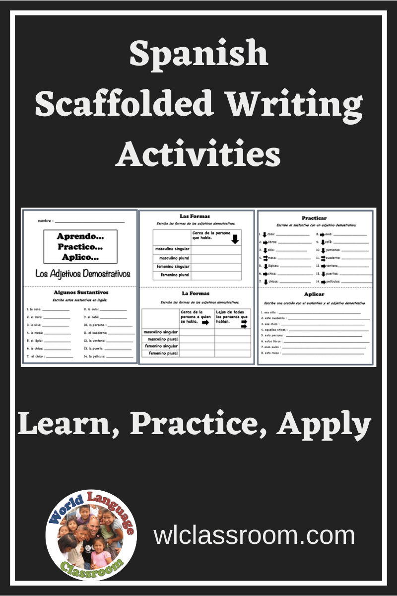these scaffolded writing activities in spanish cover many