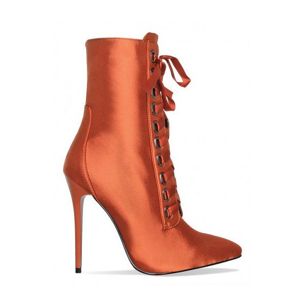 26d07757bc9 Cassie Copper Satin Lace Up Pointed Ankle Boots : Simmi Shoes (200 ...