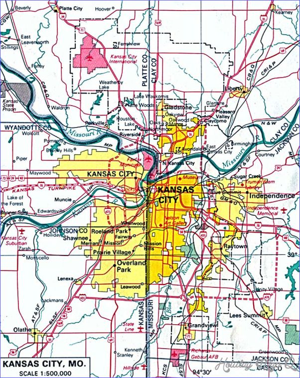 Kansas City Map Tourist Attractions Httpholidaymapqcom - Kansas city map