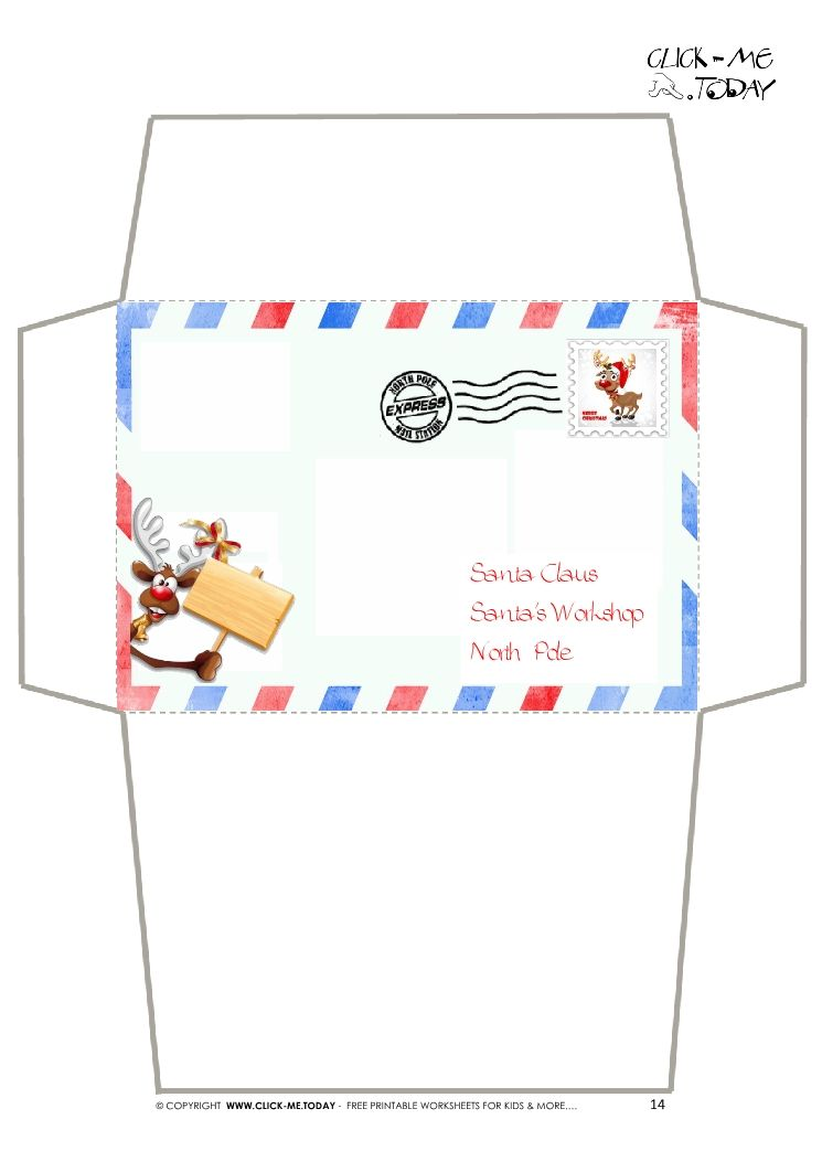 Craft Envelope  Letter To Santa Claus Border Reindeer