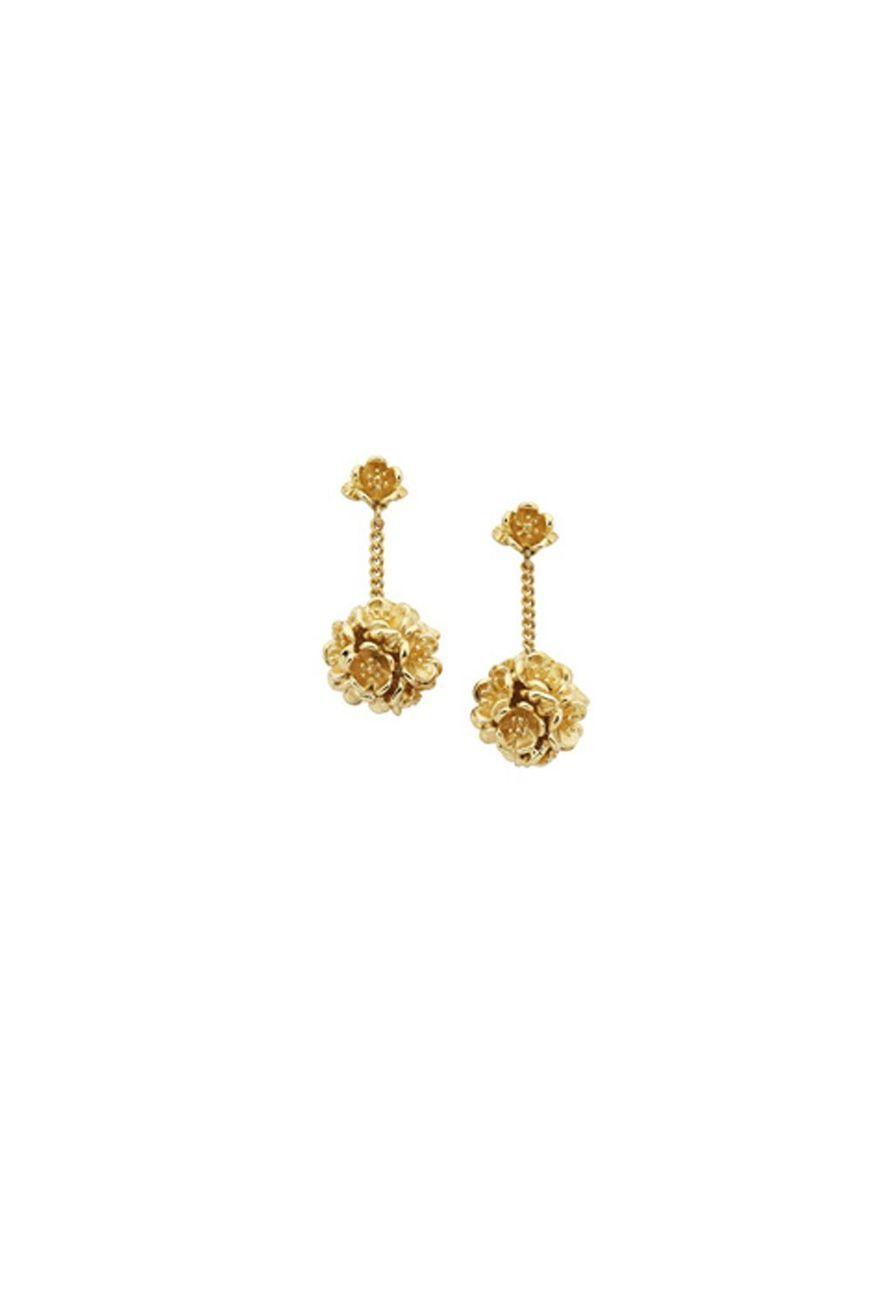 ab81ae719a Flower Ball Thread Earrings Gold - Jewellery