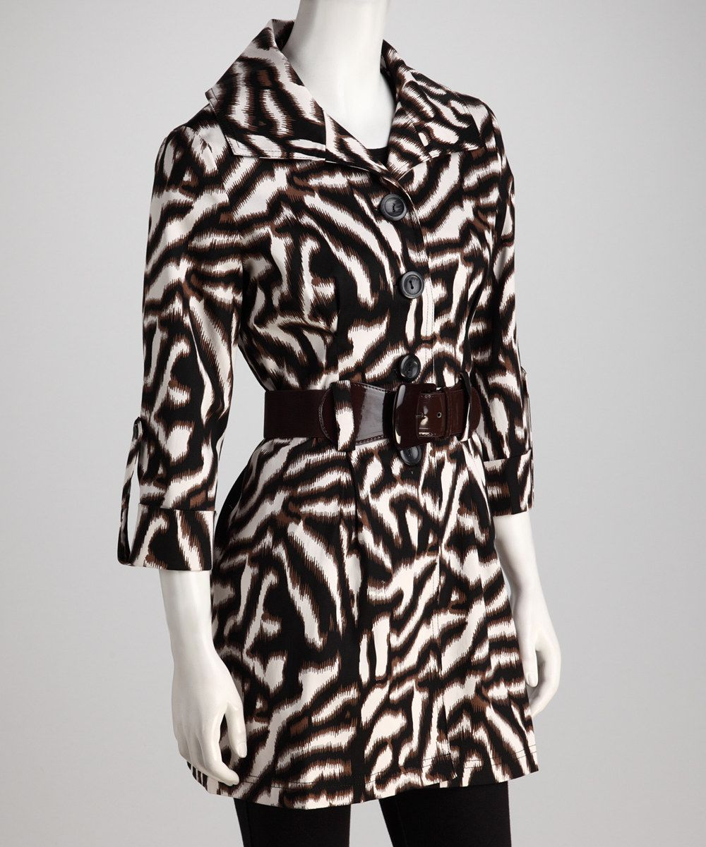 Look at this Joy Mark Brown Zebra Belted Jacket on #zulily today!