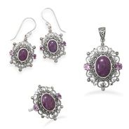 Ornate Marcasite and Purple Turquoise Jewelry.  Sold separately or in set.  www.OasisStyle.co