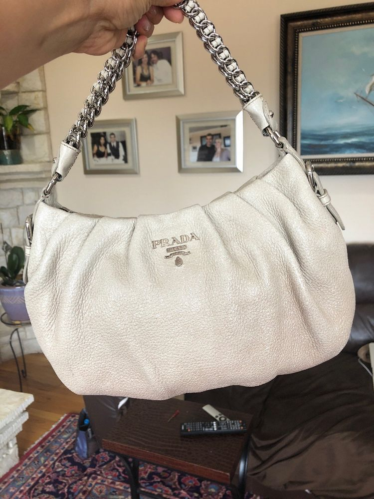 0eb71d0ce3cddb PRADA Cervo Lux Silver Grey And Creme Ombré With Silver Chain Hobo Bag…@ebay  @pinterest #money #designer #louisvatton #product #handbag
