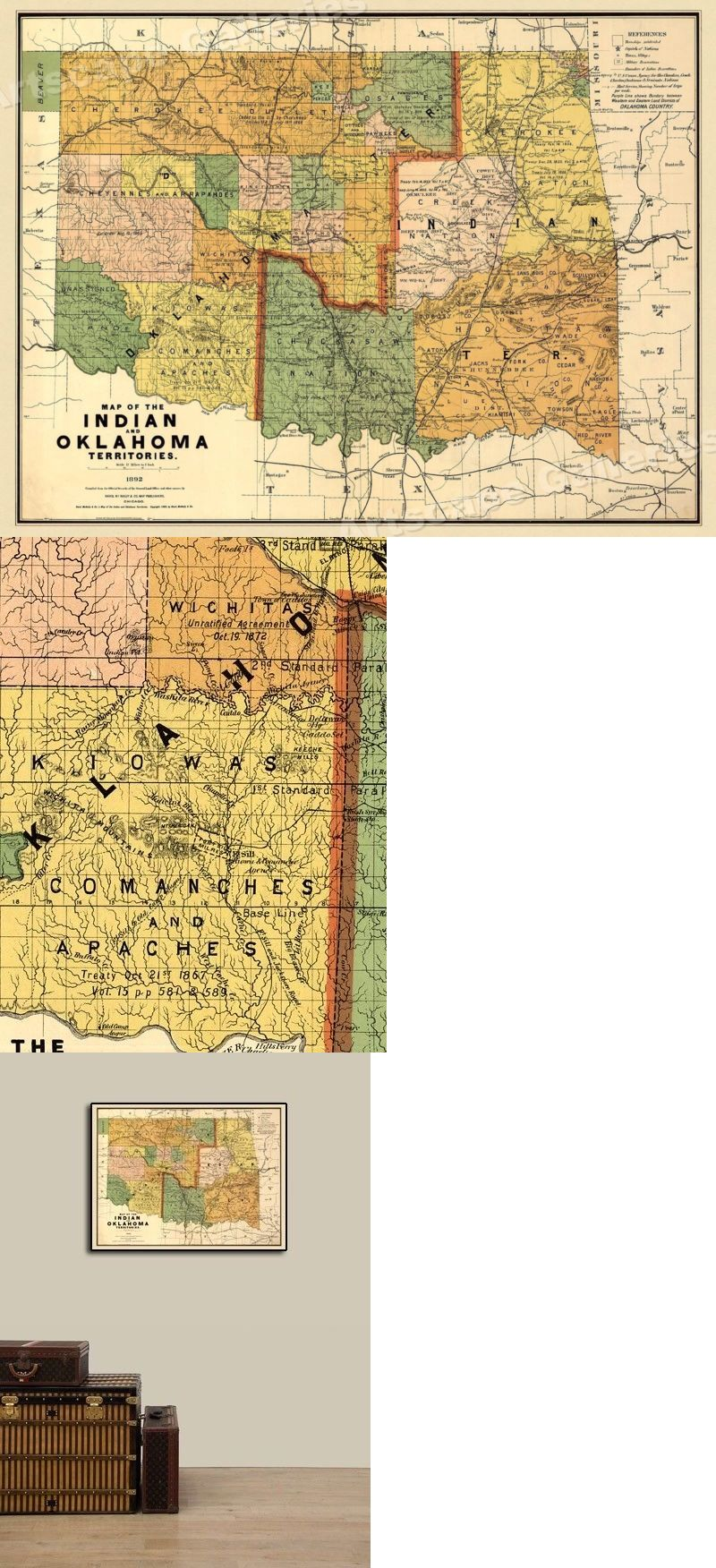 "24x32 1890s ""Map of the Indian and Oklahoma Territories"" Vintage State Map"