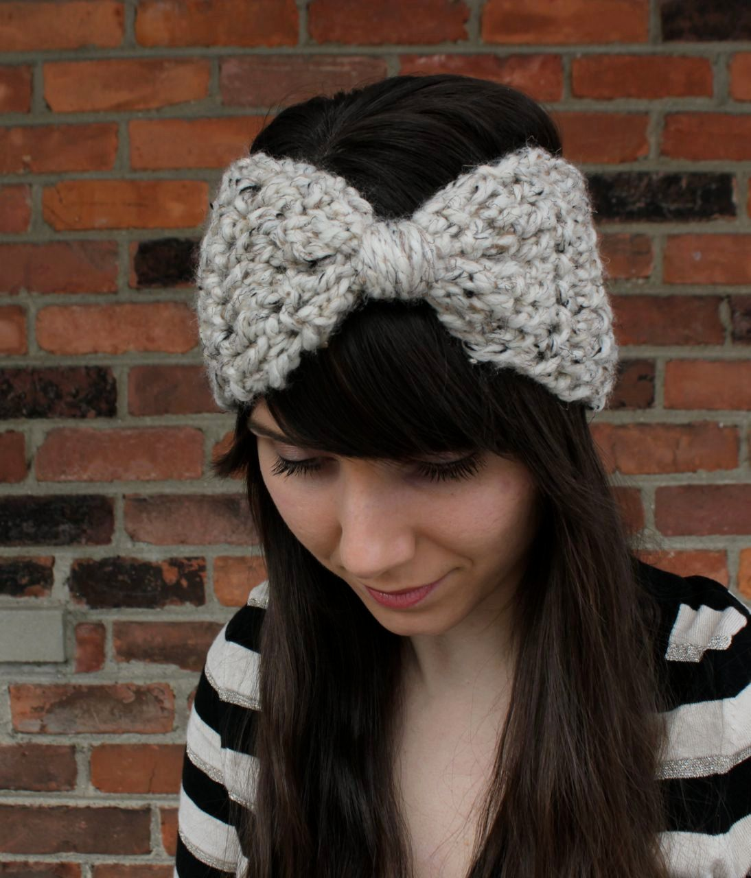 Crochet Ear Warmer Headband in Oatmeal Beige - Big Bow Headband Ear ...