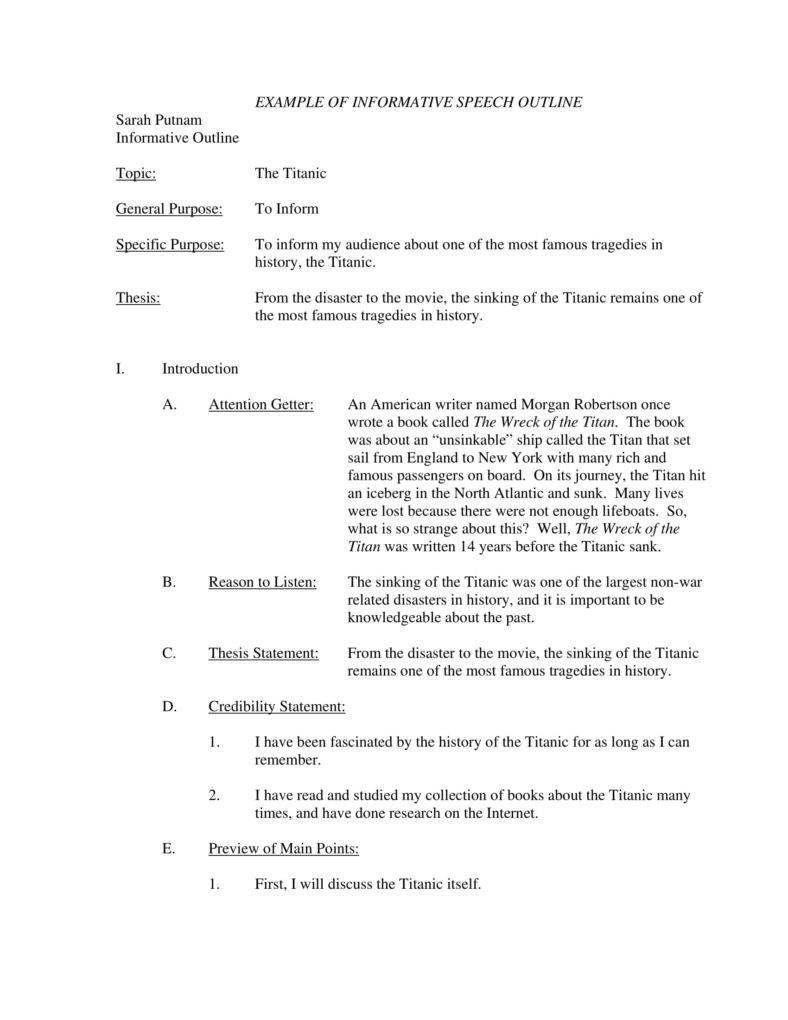 Informative Speech Outline Template Speech Outline Paper Outline Research Paper Outline What is a speech outline